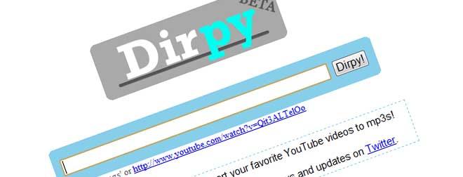 Med Dirpy kan du få YouTube-filmer lastet ned i MP3-format. Tjenesten lar deg redigere filene. (Ill. Teknologia.no)