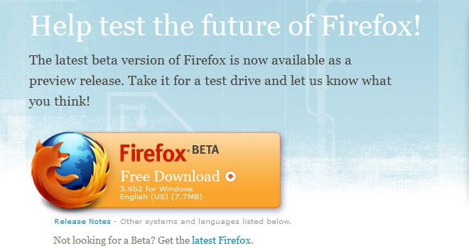 Du kan allerde laste ned beta 2 av den kommende Firefox-oppdateringen, nemlig versjon 3.6 (Ill. Mozilla)