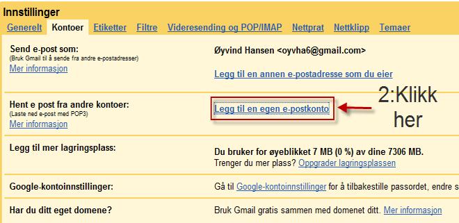"""Trykk """"Legg til en egen e-postkonto."""" (ill Bitnett Teknologia)"""